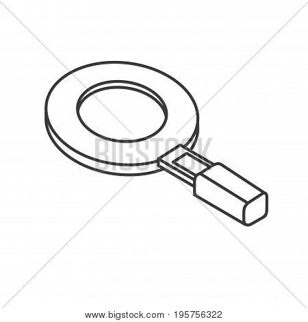 line magnifying glass tool to search and explore vector illustration
