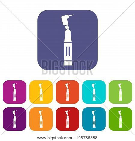 Dental drill icons set vector illustration in flat style In colors red, blue, green and other