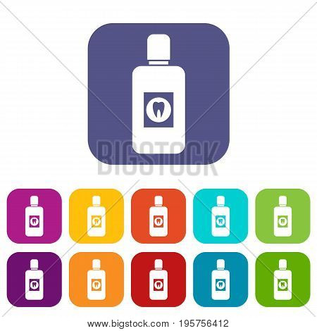 Bottle of green mouthwash icons set vector illustration in flat style In colors red, blue, green and other