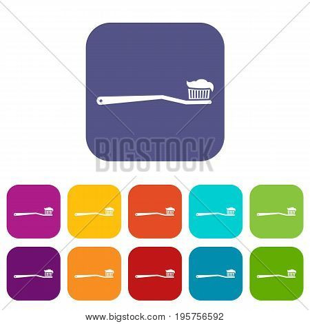 Toothbrush icons set vector illustration in flat style In colors red, blue, green and other