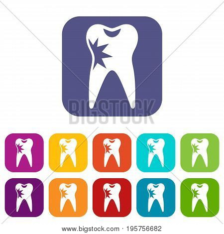 Cracked tooth icons set vector illustration in flat style In colors red, blue, green and other