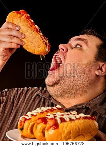 Diet failure of fat man eating fast food hot dog on plate. Breakfast for overweight person who greedily eats lot . Junk meal leads to obesity on dark background.