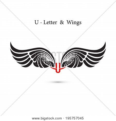 U-letter sign and angel wings.Monogram wing logo mockup.Classic emblem.Elegant dynamic alphabet letters with wings.Creative design element.Corporate branding identity.Flat web design wings icon.Vector illustration.
