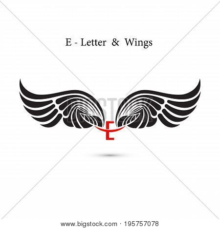E-letter sign and angel wings.Monogram wing logo mockup.Classic emblem.Elegant dynamic alphabet letters with wings.Creative design element.Corporate branding identity.Flat web design wings icon.Vector illustration.