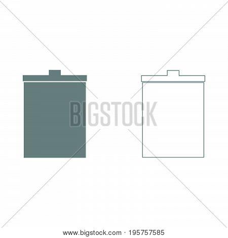 Trash Bucket The Grey Set Icon .