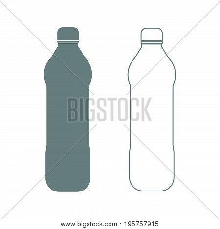 Water Plastic Bottle The Grey Set Icon .