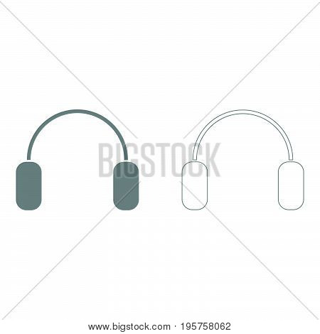 Headphone The Grey Set Icon .