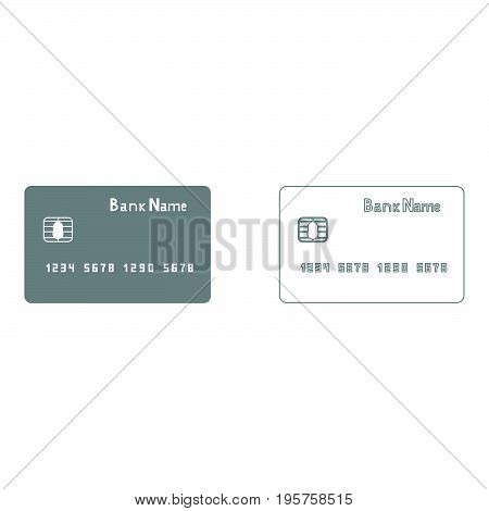 Bank Cit Card The Grey Set Icon .