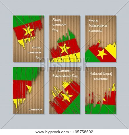 Cameroon Patriotic Cards For National Day. Expressive Brush Stroke In National Flag Colors On Kraft