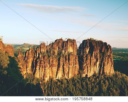 Morning Sunlight On Rocky Towers Of Schrammsteine In National Park Saxony Switzerland, Germany