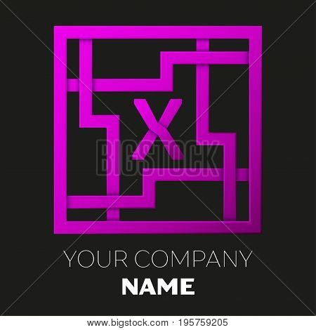 Realistic Letter X vector logo symbol in the colorful square maze on black background. Shadow Breaks. Vector template for your design