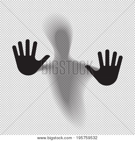 Shadowy figure behind glass translucent isolated. Vector illustration.