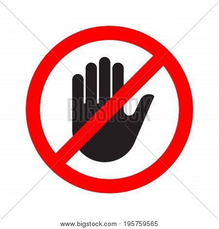 Stop hand blocked sign classic. Vector illustration.