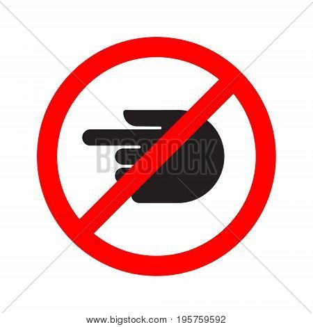 Turn forbidden sign hand stop. Vector illustration.