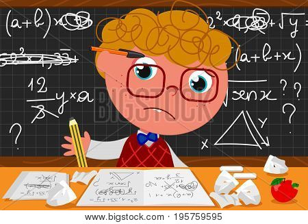 Incompetent goofy guy at the desk trying to solve mathematics problems. Cartoon vector illustration