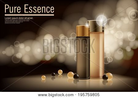 Poster for the promotion of moisturizing and nourishing cosmetic premium product. Vector illustration. EPS 10