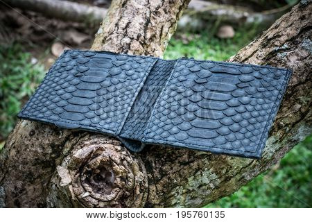 Exotic snakeskin python wallet purse on a wooden background. Handmade luxury purse from Bali island.