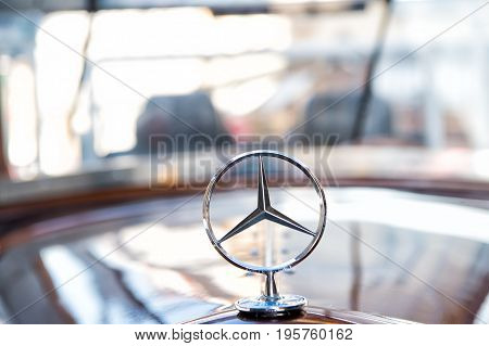 Berlin Germany - may 31 2017: Mercedes Benz Sign or logo Close Up. Founded in 1926 is a German luxury automobile manufacturer a multinational division of the German manufacturer Daimler AG
