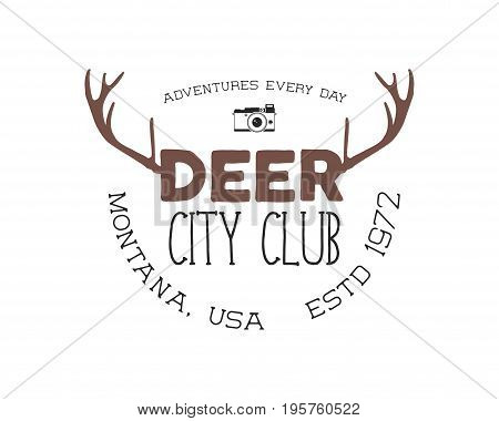 Hand drawn deer vintage badge. Deer city club logo template. Typography insignia with camera. Included deer antlers, text elements. Old style patch. Rustic stamp. Stock . Retro palette.