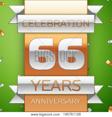 Realistic Sixty six Years Anniversary Celebration Design. Silver and golden ribbon, confetti on green background. Colorful Vector template elements for your birthday party. Anniversary ribbon