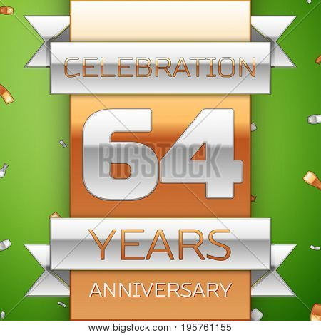 Realistic Sixty four Years Anniversary Celebration Design. Silver and golden ribbon, confetti on green background. Colorful Vector template elements for your birthday party. Anniversary ribbon