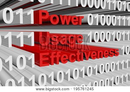 Power usage effectiveness in the form of binary code, 3D illustration