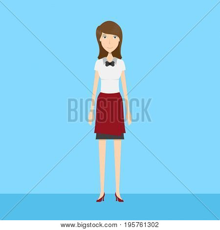 Waitress Character | set of vector character illustration use for human, profession, business, marketing and much more.The set can be used for several purposes like: websites, print templates, presentation templates, and promotional materials.