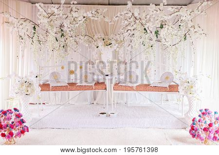 A marriage dais for two couples of wedding