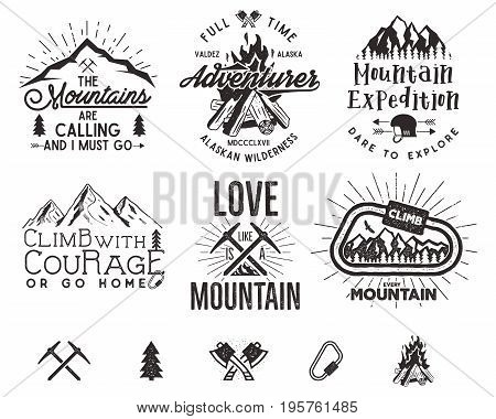 Set of mountain climbing labels, mountains expedition emblems, vintage hiking silhouettes logos and design elements. retro letterpress style isolated. Wilderness patches, insignia.