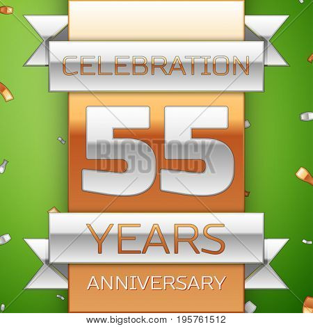 Realistic Fifty five Years Anniversary Celebration Design. Silver and golden ribbon, confetti on green background. Colorful Vector template elements for your birthday party. Anniversary ribbon