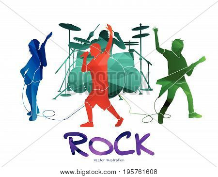 Rock band playing. Vector illustration of rockers performing. Colored silhouettes.