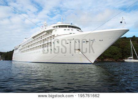 Large Luxury White Cruise Ship Liner At Fowey