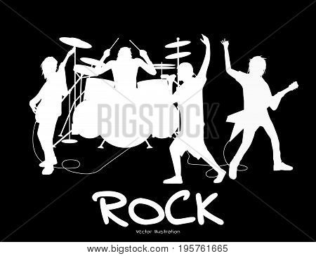 Vector illustration of rock band silhouette playing and performing together on stage. Black and white illustration.