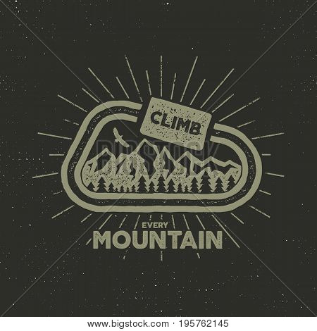 outdoor adventure label. Vintage design with text and climbing symbols - carabiner, mountains. Typography outdoor adventure t-shirt print emblem isolated on white background. Letterpress effect