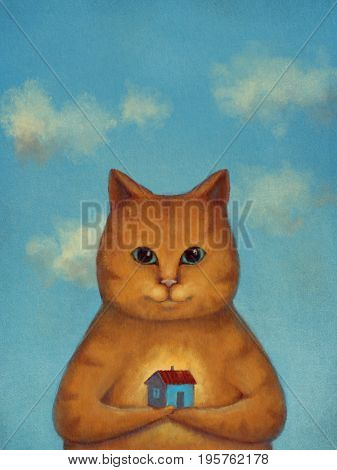 Every Cat Needs A Home. Ginger cat with small house on a hand with clouds blue sky