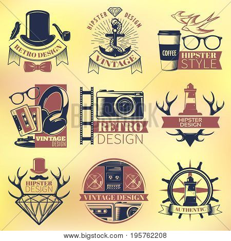 Vintage hipster colored emblems set with letterings and retro design elements isolated vector illustration