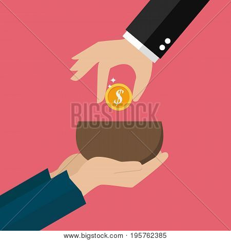 Hand giving money to beggar hand. Vector illustration