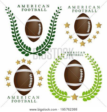 Abstract vector illustration logo flying ball, American football.