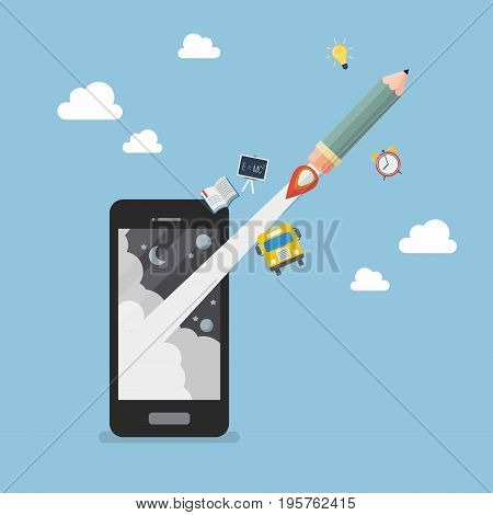 Pencil rocket launch out of smartphone. Education online or e-learning concept