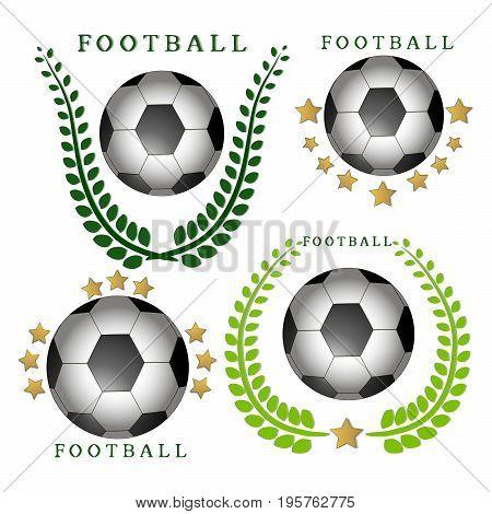 Abstract vector illustration logo football, flying ball soccer on white background.