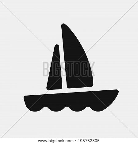 Boat icon, yacht with the raised sails floats on waves, black silhouette vector illustration