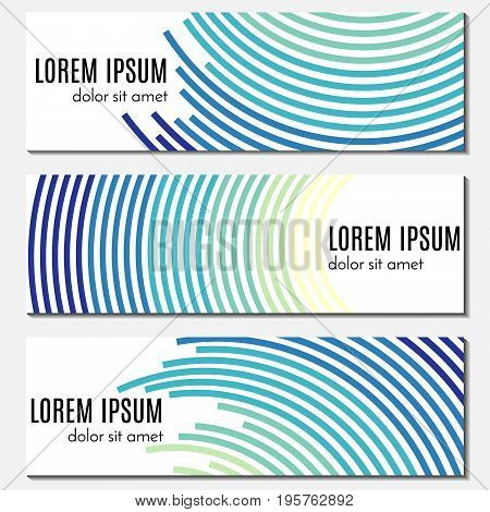 Set of blue abstract header banners with curved lines and place for text. Vector backgrounds for web design.