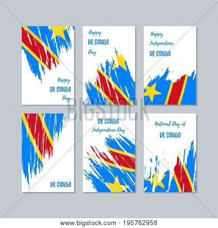 Dr Congo Patriotic Cards For National Day. Expressive Brush Stroke In National Flag Colors On White