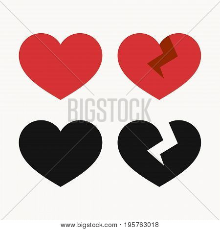 Heart icons, whole and broken, like and dislikes symbols vector illustration