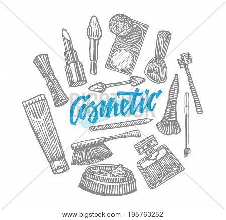 Hand drawn cosmetic elements collection with different tools and accessories for beautiful makeup isolated vector illustration