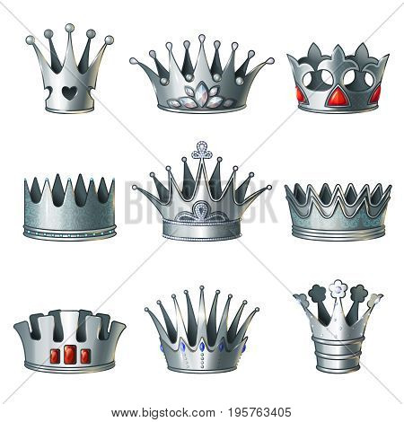 Cartoon silver royal crowns set of different design with jewels and gemstones isolated vector illustration
