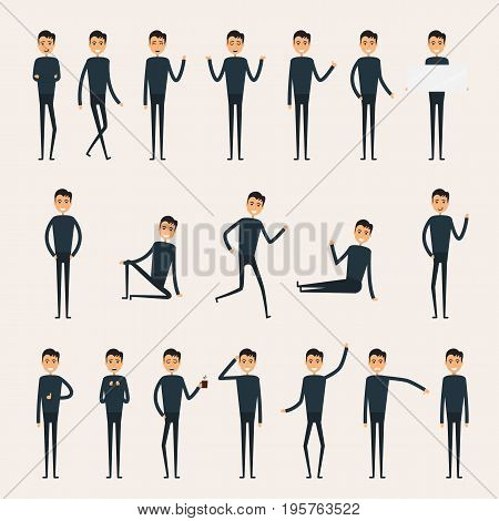 Male character creation set.Business man characters.Set of a guy in different poses.Characters for your project.Build your own design.Cartoon flat style infographic vector illustration
