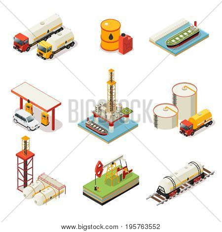 Isometric oil industry set with vehicles barrels canister water platform fuel station petroleum storage drilling rig isolated vector illustration