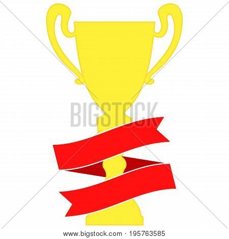 Champion cup in gold with red ribbon. Championship prizes for first place. Victory symbols isolated on white background.