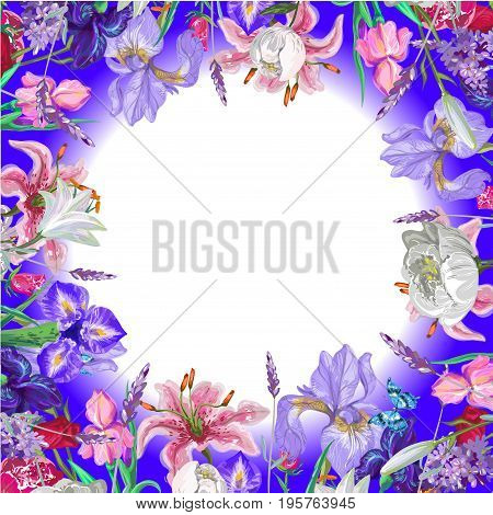 Tender round floral empty template with butterfly, vector hand drawn design stock art
